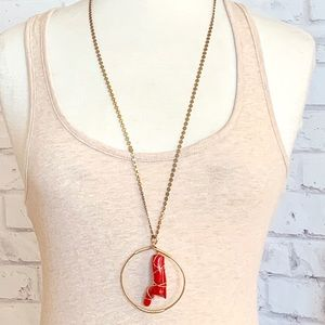 Double Happiness Coral Pendant Necklace